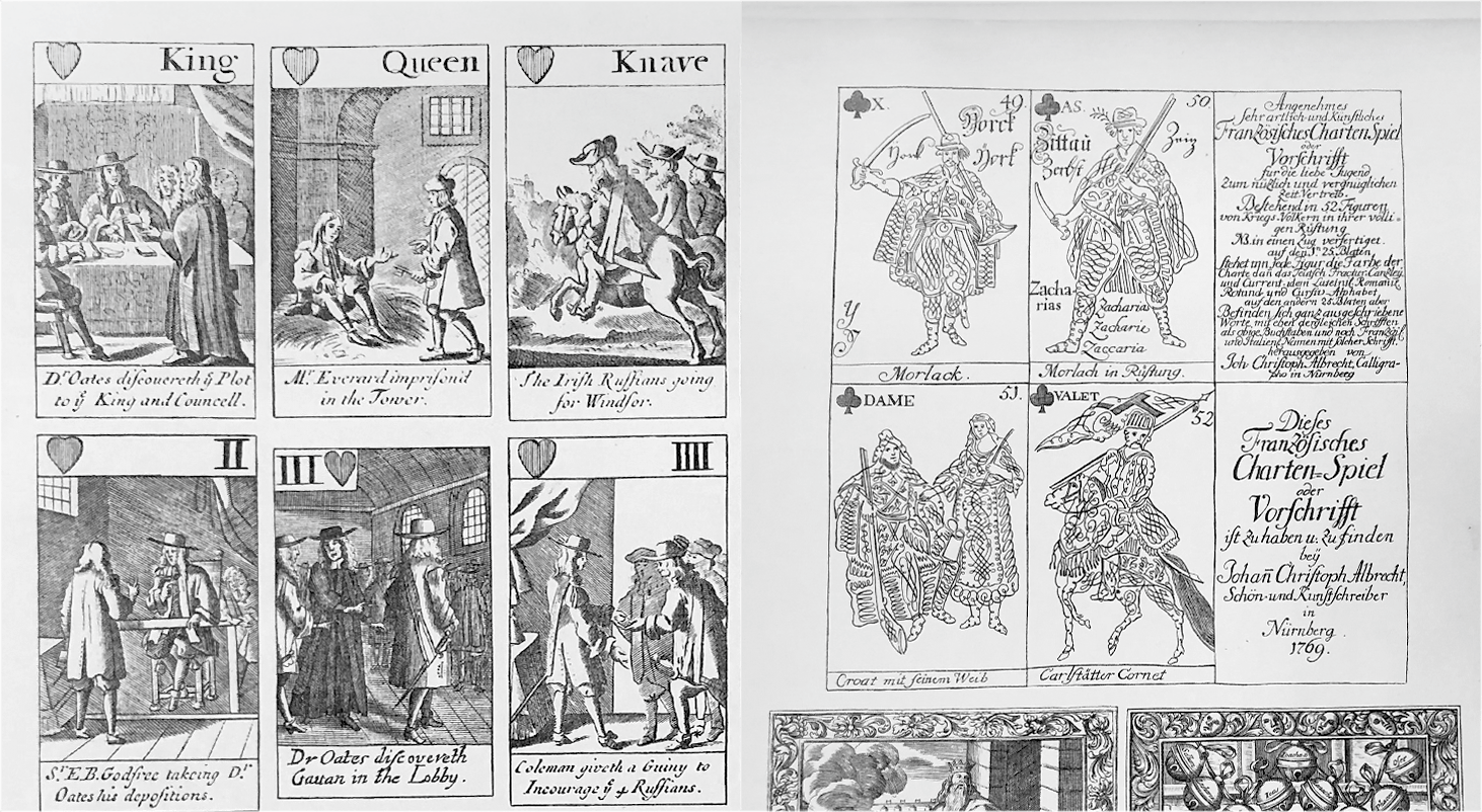 English and German playing card courtiers
